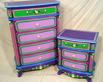 SOLD Sample Of CUSTOM WORK  Dresser And Night Stand  Custom Hand Painted  Furniture Made