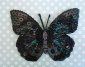 Iron-on Butterfly Black Embroidered Sequins Patches
