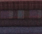 PURELY PURPLE - Wool for  Rug Hooking, Applique, Penny Rugs, Quilting