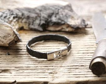 """Leather Bracelet for Him """"Carbon Black"""""""