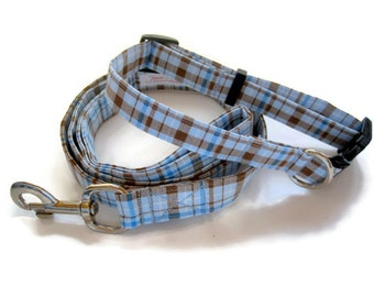 Blue and Brown Plaid Dog Collar and Leash Set size Large