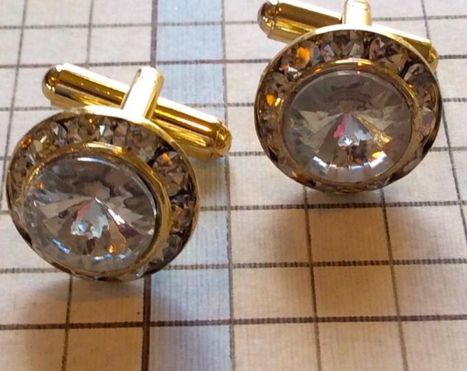 Men's Cufflinks, Vintage Accessories For Men, Crystal Cufflinks, Fancy Mens Cufflink, Vintage Swarovski Crystal Cufflinks