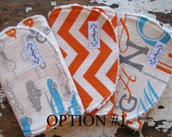 Orange Cars, Chevron, Alphabet and Hipster Leaf - Grey, Orange and Turquoise - 2 Sets to choose from Baby Boy Burp Cloths