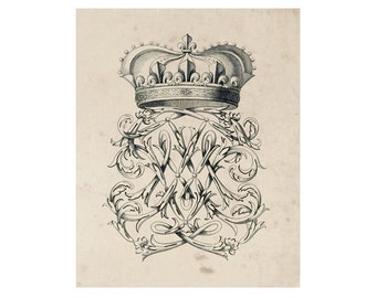 Crest of French Nobility 15, Peerage Insignia Emblems - 8x10 Digital Files to Download Print, Similar to Restoration Hardware, 16 available