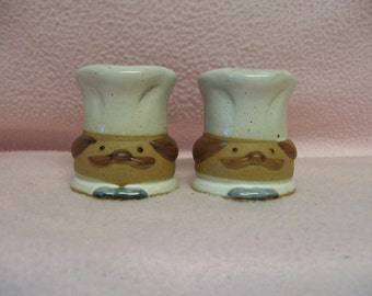 CHEF Salt  Pepper Shakers by Fitz & Floyd Circa 1983 Japan Stoneware Cook Chef Tableware