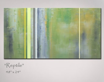 Green Abstract Painting, Abstract Art, Large 48x24. Green and Yellow Abstract Art