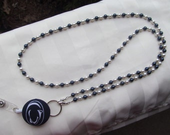 Penn State ID Badge Beaded Lanyard Swarovski Pearls Navy Blue & White ID Badge Holder