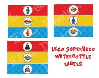 Superhero Birthday Water Bottle Labels,Superhero Birthday, Instant Download,Printable