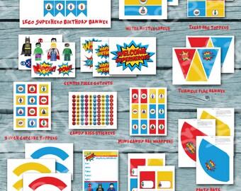 Superhero Birthday Party Package, Superhero Birthday,Instant Download,Printable