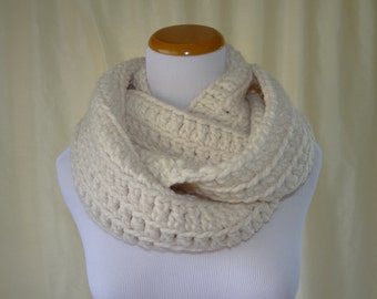 ON SALE and Ready To Ship...Long Cream Scarf,Chunky Cowl,Infinity Crochet Scarf