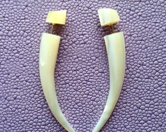 Mother of Pearl Small Talons - Tribal Fake Gauges - JHARNA - Hand Carved Natural Shell Earrings