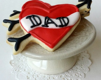 Dad Tattoo Heart Cookies - Valentine's Day - Father's Day - 6 Cookies