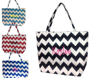 Personalized Chevron Canvas Tote Bag  Monogrammed Free Available in 4 Colors