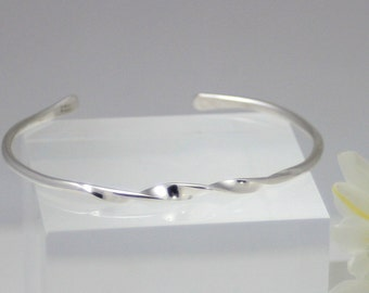 Sterling silver twist cuff, eco friendly, silver bracelet, silver cuff, women, handmade, hand hammered, bridesmaid gift, unique gift
