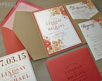 Vintage Floral Orange Flowers Wedding Invitation Sample | Flat or Pocket Fold Style