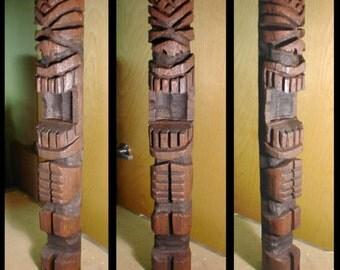 3 Foot Tough Guy Carved Tiki Pole