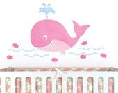 """PInk Whale Fabric Decals - 11.5"""" x 18.5"""" - Reusable Fabric Wall Decals - Girls Nursery Decor - Ocean Wall Art for Kids Room - Beach Art"""
