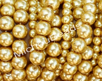 """16"""" Strand - 8mm LIGHT Golden Round PEARL Glass Beads - Opaque Pearlised Crystal Beads - USA Wholesale Pearls - Instant Ship - 099 / b28"""