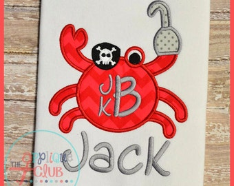 Pirate Crab - Appliqued and Personalized