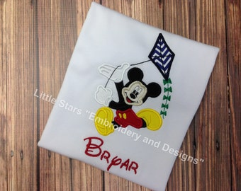 Mickey Mouse flying a Kite - Appliqued and Personalized