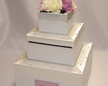 Elegant Wedding Card Box- Ivory-White lace design-any colors
