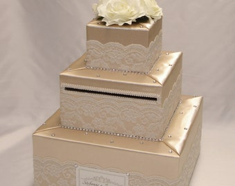 Elegant Custom made Wedding Card Box-lace and rhinestones