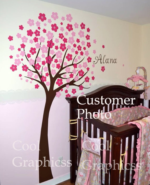Cherry Blossom Tree wall decals nursery wall decals children girl baby wall decals wall sticker wall decor butterfly