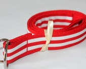 Kids Ribbon Belt Red and White Striped Preppy Boys Girls Velcro Available