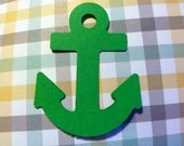 12 pcs GREEN paper ANCHORS  2 inches in size Hand Punched die cuts, paper punches, craft projects, patriotic