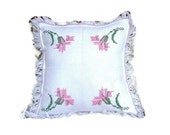 White Handmade Hand embroidered Pillow case 37 x 39-cotton pilow-Double pillow slip
