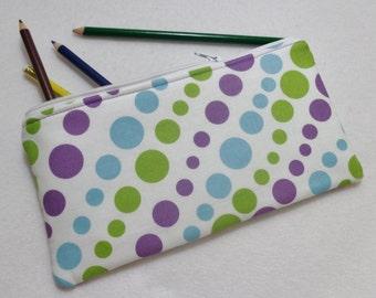 Polka Dot print Pencil Case/ Crayon Case/Makeup Bag/ Cosmetic Case/ Ready to Ship