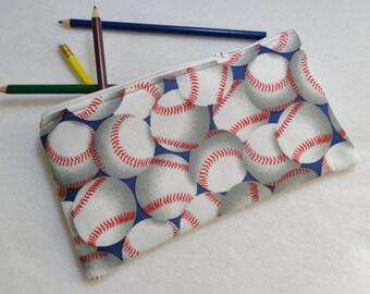 Baseball print Pencil Case/ Crayon Case/Makeup Bag/ Cosmetic Case/ Ready to Ship