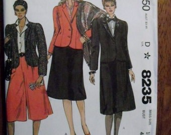 Vintage McCalls Jacket, Skirt and Culottes 8235