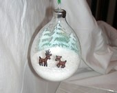 REINDEER in the SNOWY WOODS Hand-Painted Glass Christmas Ornament Filled with Sparkly Snow Glitter