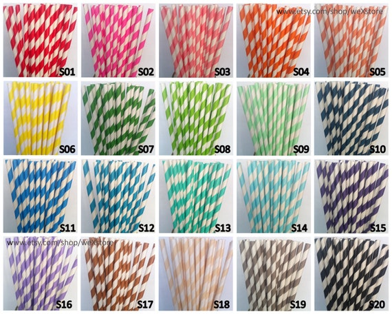 100 paper straws pick your color paper straws with free printable diy toppers paper drinking straw from wexstore on etsy studio - Printable Colored Paper