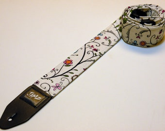 Handmade Double Padded Guitar Strap - IMAGINE - Lady Bugs - Butterflies - Play - Sing - Create
