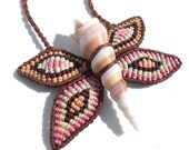 Macrame and shell butterfly necklace