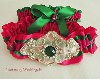 Hot Pink and Emerald Wedding Garter Set/ Crystal Wedding Garter Set