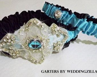 Crystal Rhinestone Wedding Garter Set/  Turquoise Black Wedding Garters