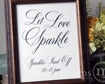 Let Love Sparkle Sign - Sparkler Send Off Sign - Table Card Sign - Wedding Reception Seating Signage - Matching Numbers Available SS04