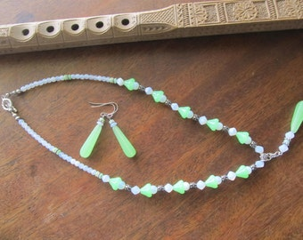 Green and white glass bead necklace, with silver.
