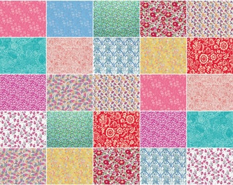 "Bright and Breezy, Liberty print charm pack, light bright colours charm squares, 5"" patchwork squares"