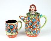 "Ceramic Pottery Teapot with matching Tea Mug, ""Natalie"" Teapot in Ceramic Pottery"