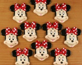 Lot 10pcs Minnie Mouse Red Bow Resin Cabochon Flatbacks Flat Back Scrapbooking Girl Hair Bow Center Crafts Making Decor DIY