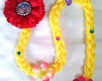 Pretty Rapunzel Clip Hair Extensions with flowers, party favors. 1 piece or lot of 10