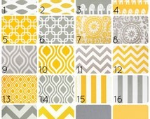Yellow or Gray Curtain Panels. 50 X 63 Inches. Drapes. Window Treatments. Chevron, Chain Link, Suzani, ikat, Stripes, elephants
