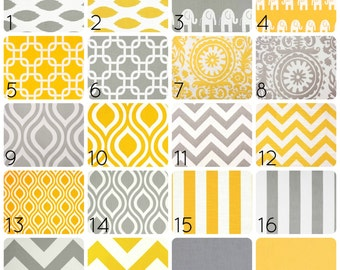 Yellow or Gray Curtain Panels. 50 X 63 Inches. Drapes. Window Treatments. Chevron, Chain Link, Suzani, ikat, Stripes, elephants