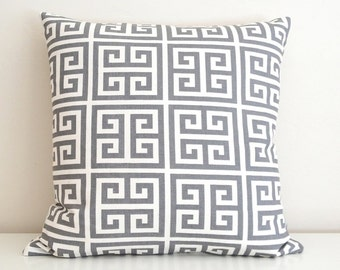 CLEARANCE 70% OFF Dark Grey Onyx Greek Key Cushion Cover 16x16 inch Decorative Pillow