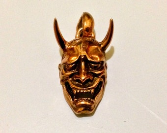 Rose gold Plated Hannya Noh mask necklace