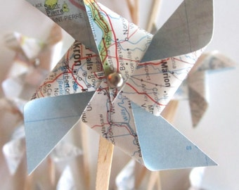 Vintage Map Pinwheels, vintage wedding, 50 small sized pinwheels, vintage atlas pages, cupcake toppers, shabby chic, travel theme